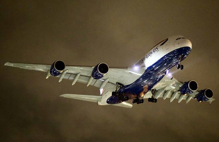 """""""When you push your camera to its limits you get spectacular images likes this! British Airways Airbus A380 landing at London Heatrow intl. Airport at…"""""""