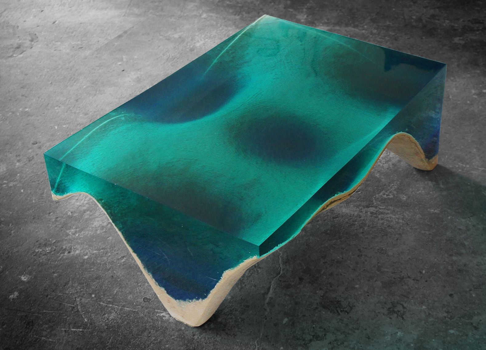 Lose Yourself In The Hypnotic Blue Depths Of This Oceaninspired - Incredible layered glass table mimics oceans depths