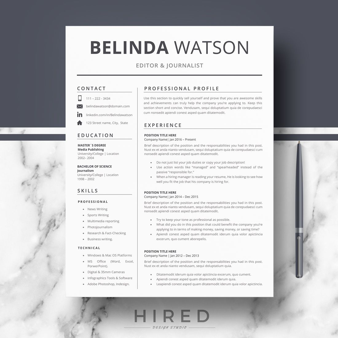Professional Resume, CV Template; Modern Resume, CV For