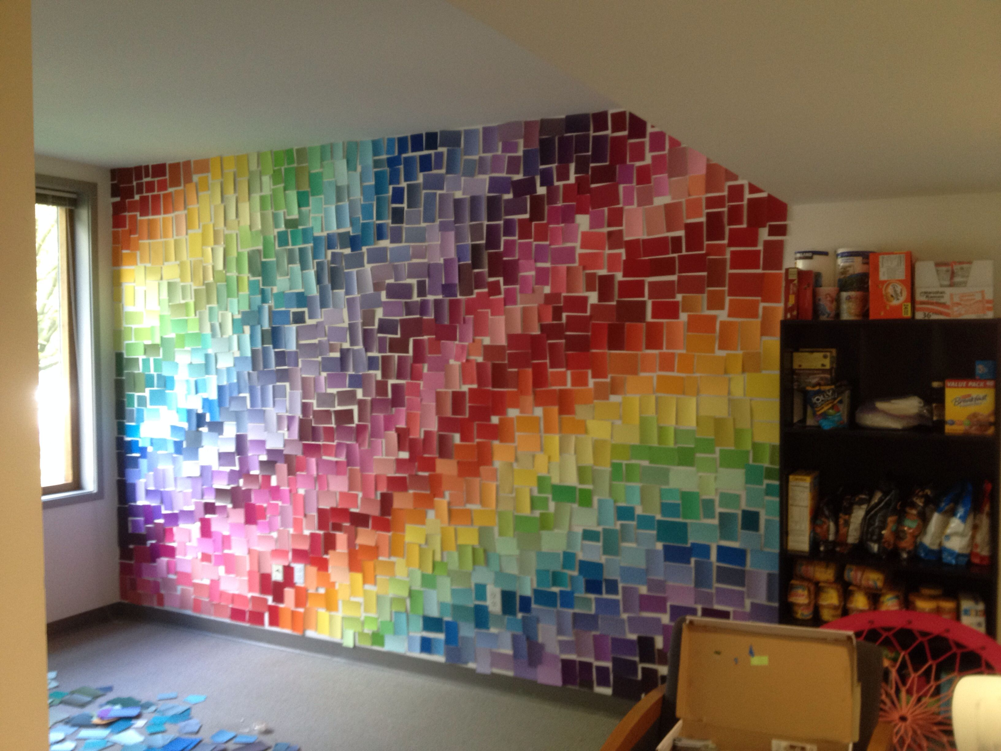 Paint chip wall in our dorm room. | Paint chip wall, Paint ...