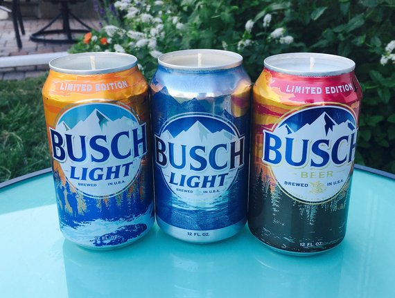Upcycled Busch Light Beer Can Or Bottle Candle Etsy In 2020 Beer Candle Beer Bottle Candles
