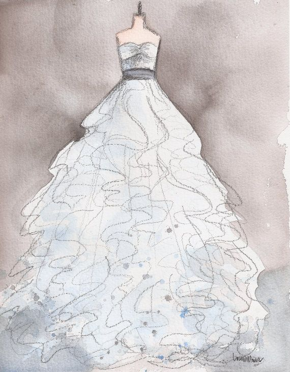 Custom Wedding Dress Painting A Handmade Wedding Gift By