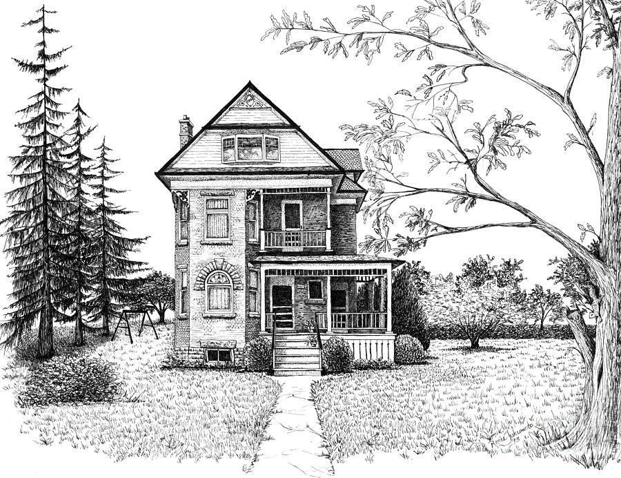 Victorian Farmhouse Pen And Ink Drawing By Renee Forth Fukumoto