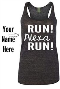 Add your own name to your shirt or tank top! Perfect running shirt for race day!  - $17.99