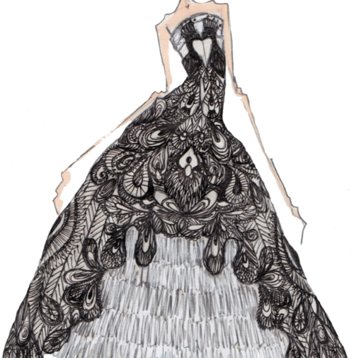 Alexander McQueen 'the girl who lived in a tree' aw 08 sketch