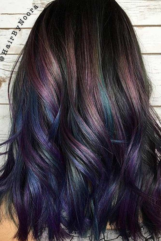 55 Fabulous Rainbow Hair Color Ideas Lovehairstyles Com Hair Styles Peacock Hair Color Oil Slick Hair