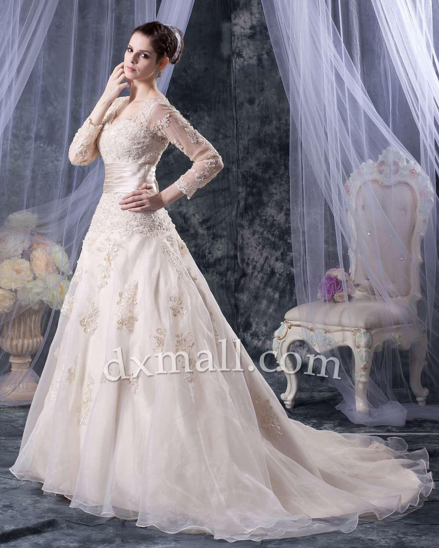 Drop waist wedding dresses vneck chapel train organza satin