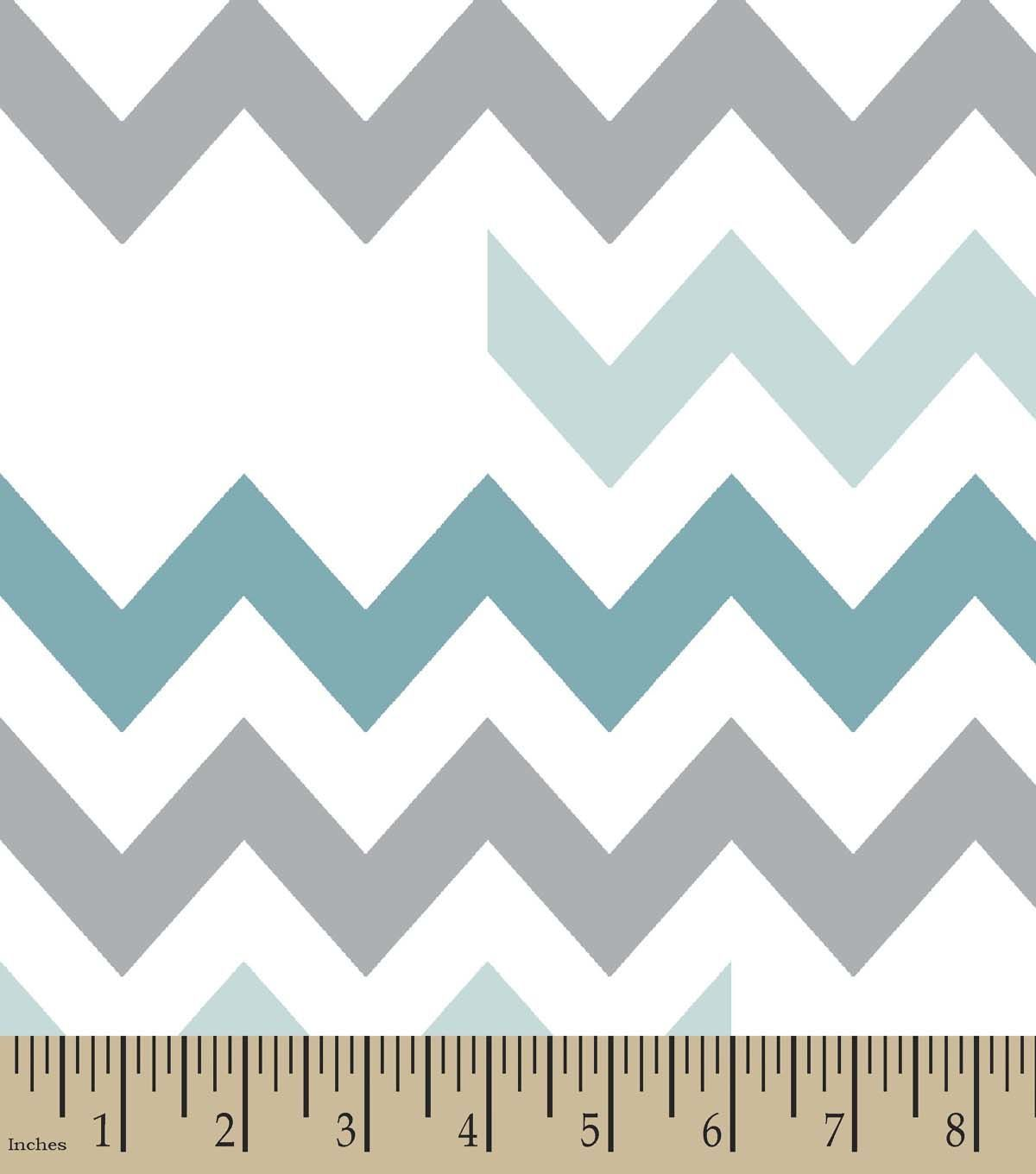 Blue Grey Chevron Print Fabric