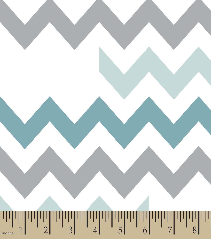 Blue Grey Chevron Print Fabric