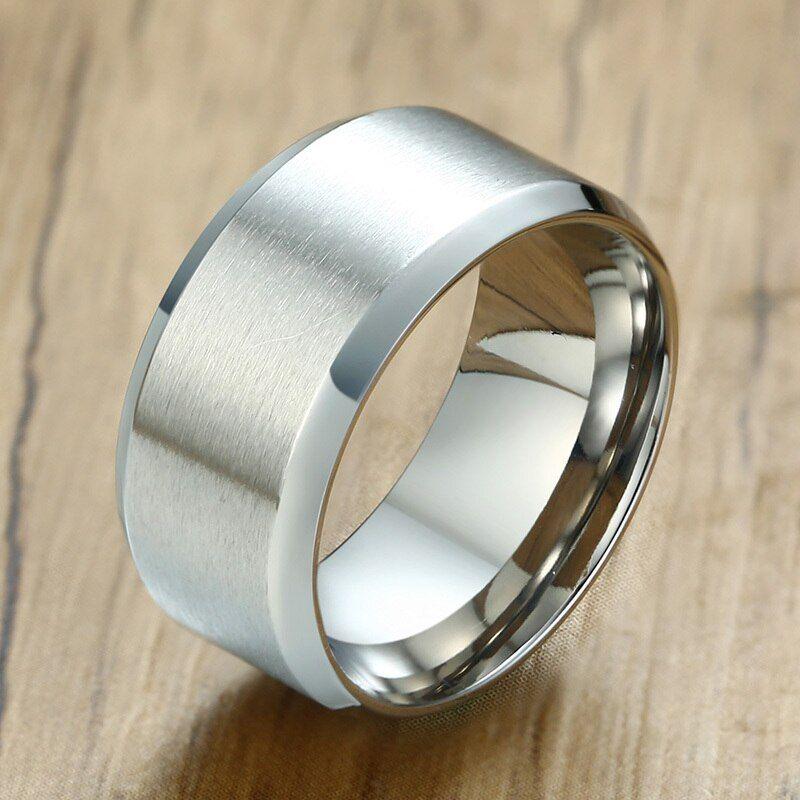 Basic mens wedding bands ring 10mm stainless steel matte