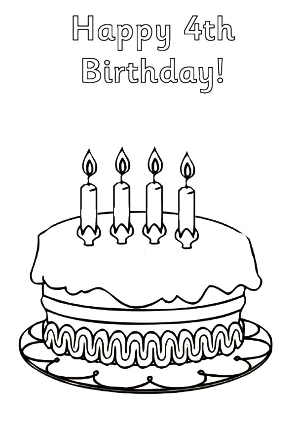 Birthday Cake for Fourth Birthday Coloring Pages - NetArt ...