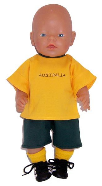 Aussie, Aussie, Aussie, Oi, Oi, Oi!  Every doll would be proud to wear this Green & Gold Jersey and short set. Shirt has Australia embroidered on the front.