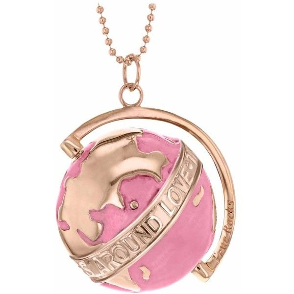 True Rocks Medium Globe Necklace Rose Gold Pink Enamel 463