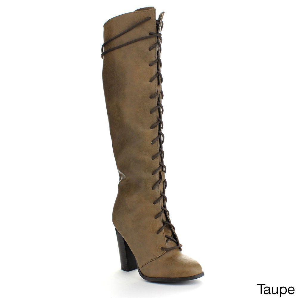 6dbad0d0832 Qupid Reborn-20 Women s Almond Toe Up Chunky Heel Combat Knee High Boots