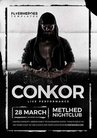 Conkor Free PSD Flyer Template - http\/\/freepsdflyer\/conkor - band flyer template