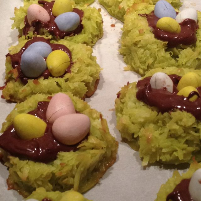 Coconut macaroon nests ( don\'t use neon green food coloring) with ...