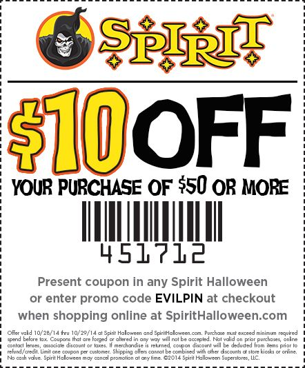use this spooktacular 10 off purchase of 50 or more today at your local spirit halloween find your closest location here