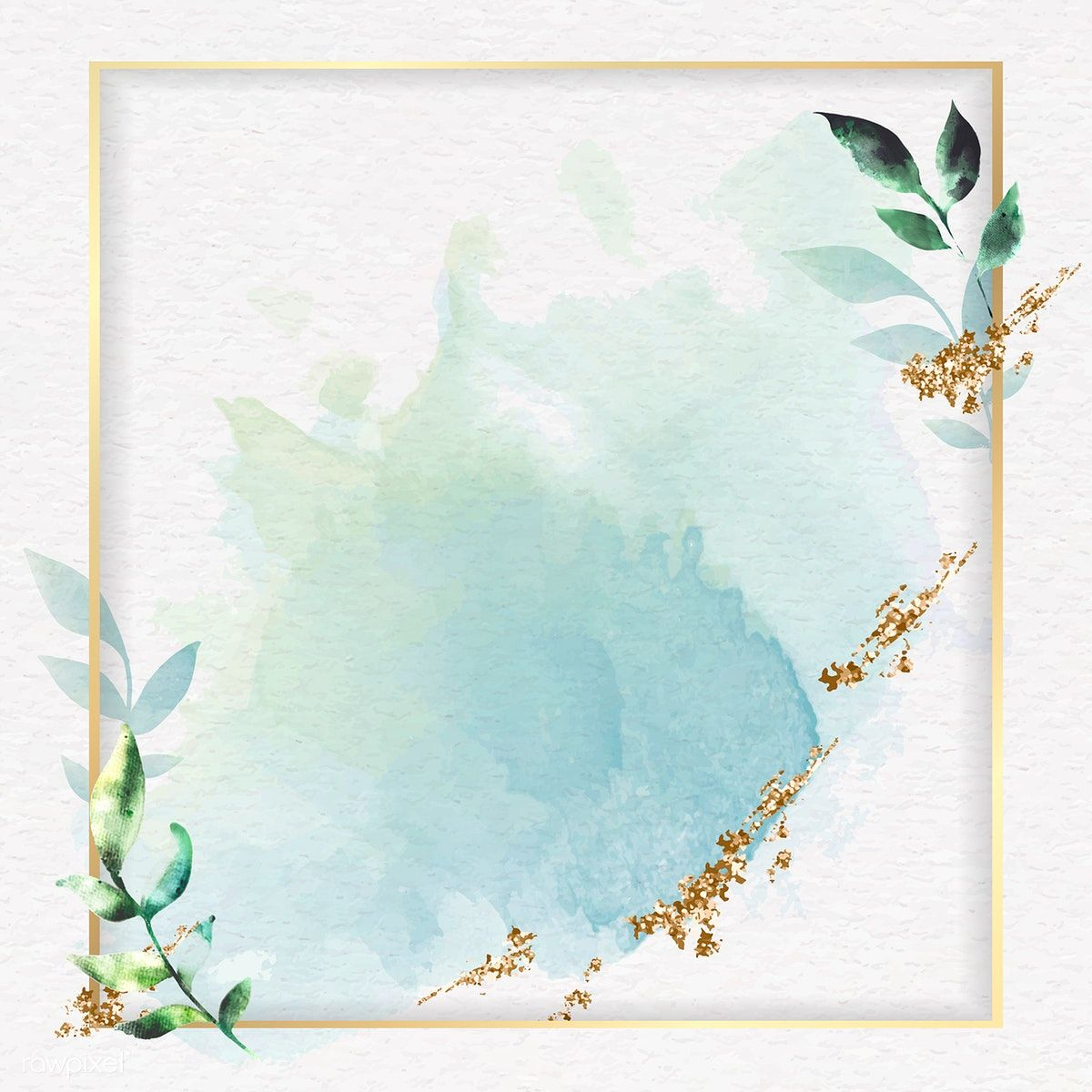 Download Premium Vector Of Gold Square Frame On A Green Watercolor