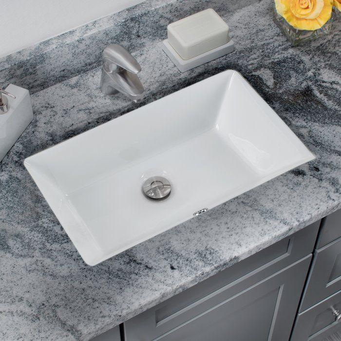 Glazed Vitreous China Rectangular Undermount Bathroom Sink