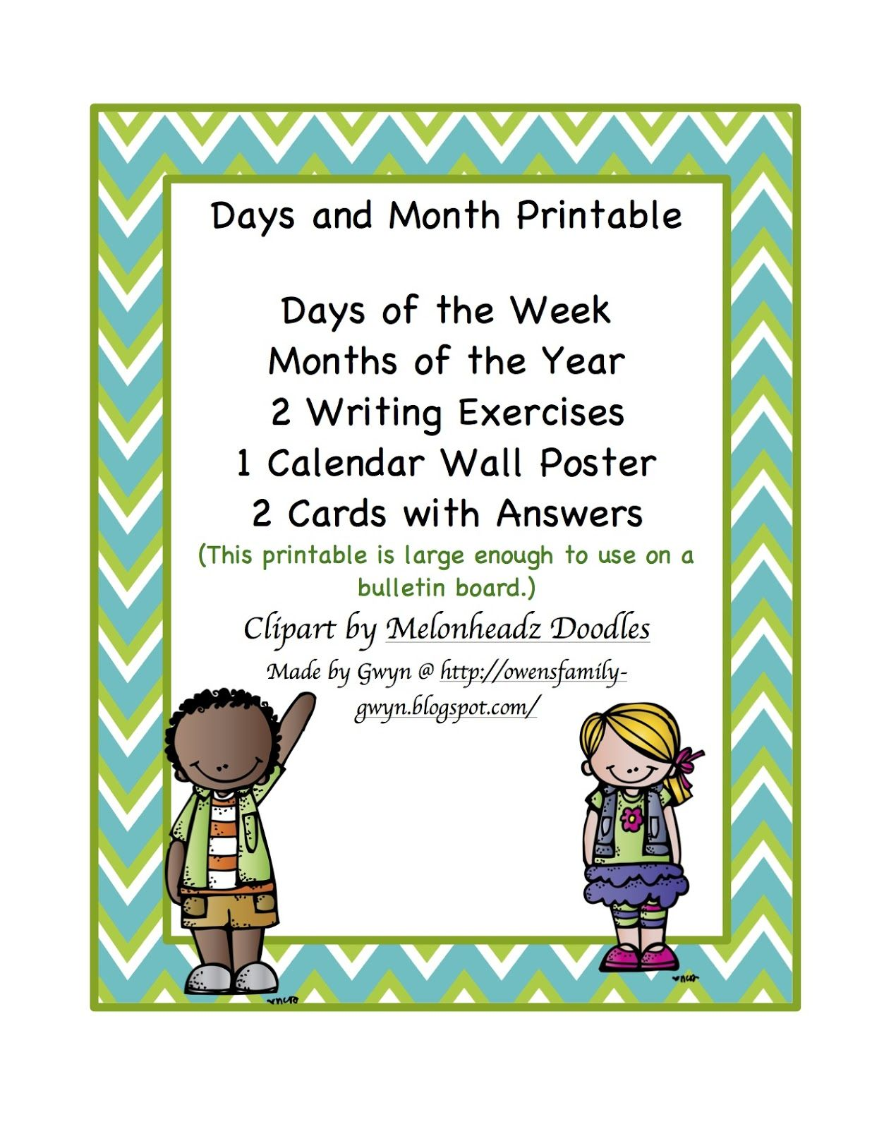 Days And Months Printable