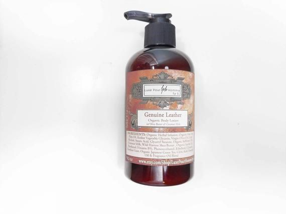 Genuine Leather Organic Body Lotion - Organic Jojoba Oil, Shea Butter and Coconut Milk Lotion - Body #jojobaoil