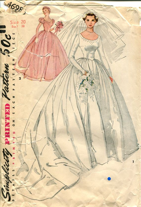 Simplicity 4698 1950s Wedding Dress Pattern | Sewing - Vintage ...