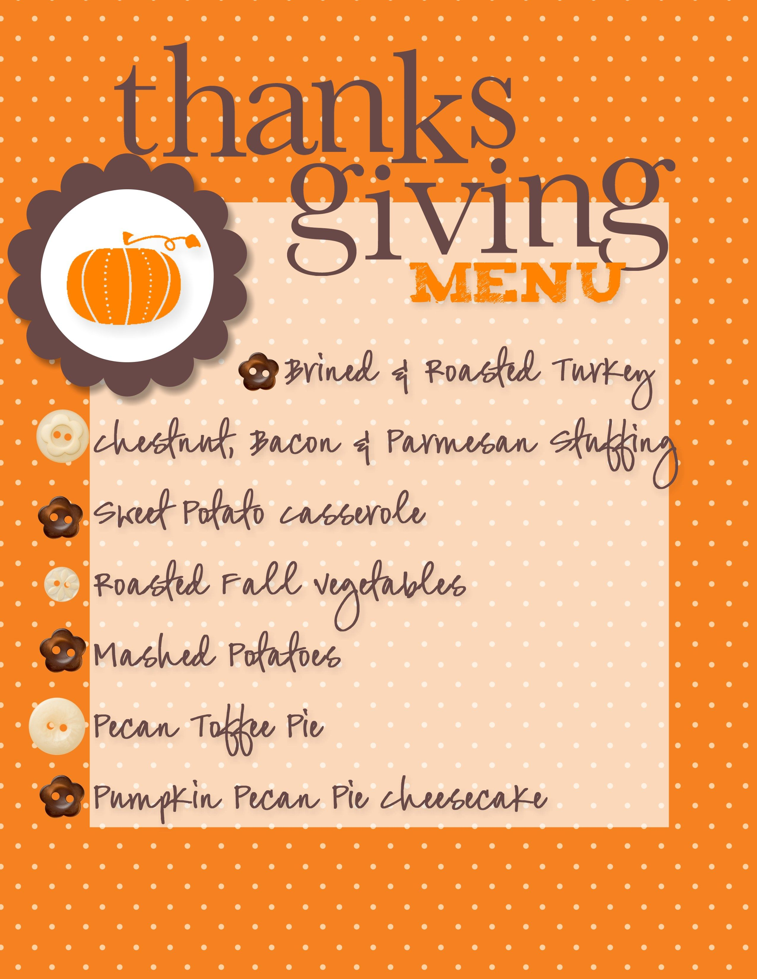 Another Thanksgiving Sample Menu