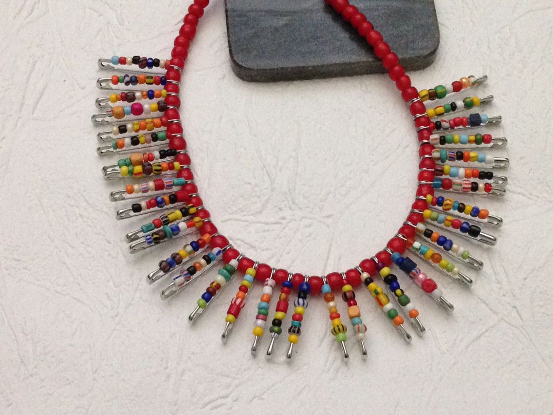 African trade beads and African white heart glass beads collar