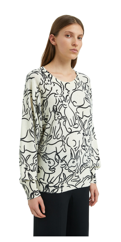 Jersey Bunnies print marfil-182BR7602.T6201 11e8d1707714