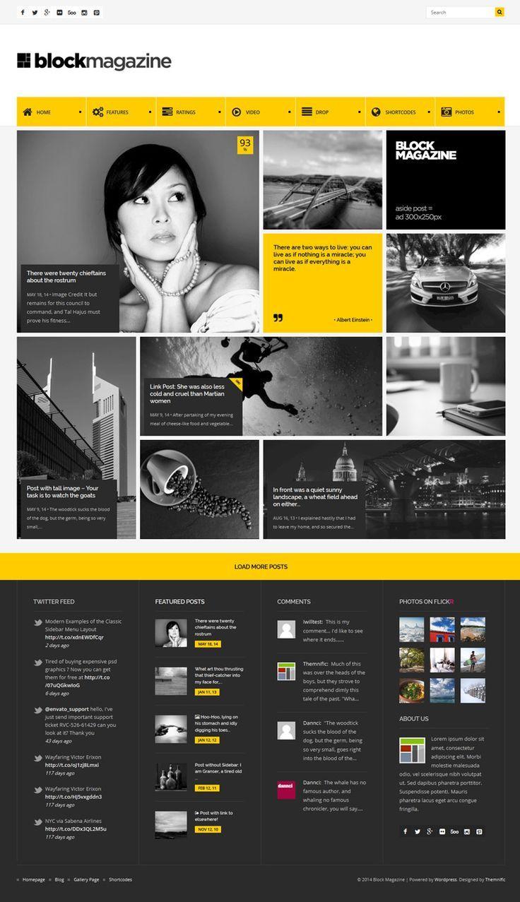 Flat Minimal WordPress Theme for blog andmagazine with masonry and ...