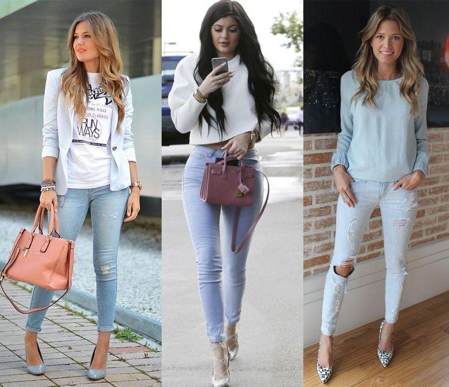c6697203f Looks com Calça Jeans Clara | Calça jeans clara | Calça jeans, Looks ...