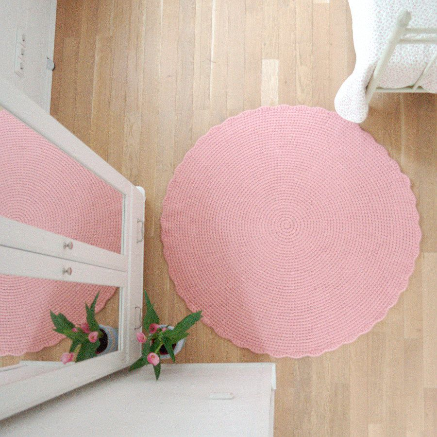 Round Rug Baby Pink Large Crochet Wool Rug Felted Nursery Rug