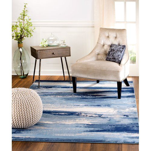 Best Sawyer Abstract Navy Blue Sky Blue White Area Rug White 400 x 300