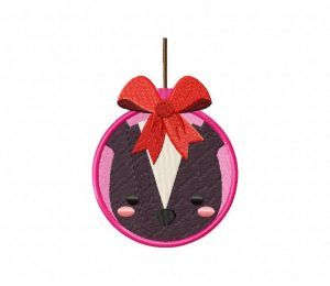 Skunk Bauble Ornament Stitched 5_5 Inch