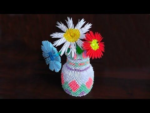 3d Origami Vase Tutorial Instruction Youtube Origami