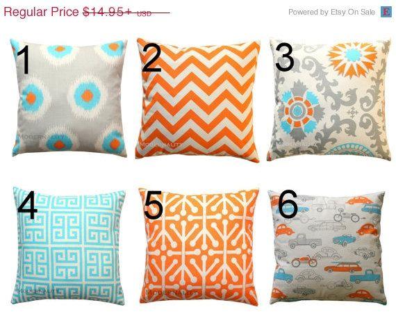 SALE Orange Pillow Cover Premier Prints Mandarin Orange Turquoise Best Small Decorative Pillows Sale