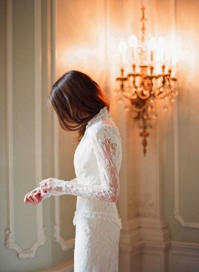 Stunning Long Sleeve Wedding Dresses: Delphine Manivet; photo: Elizabeth Messina via Bridal Musings