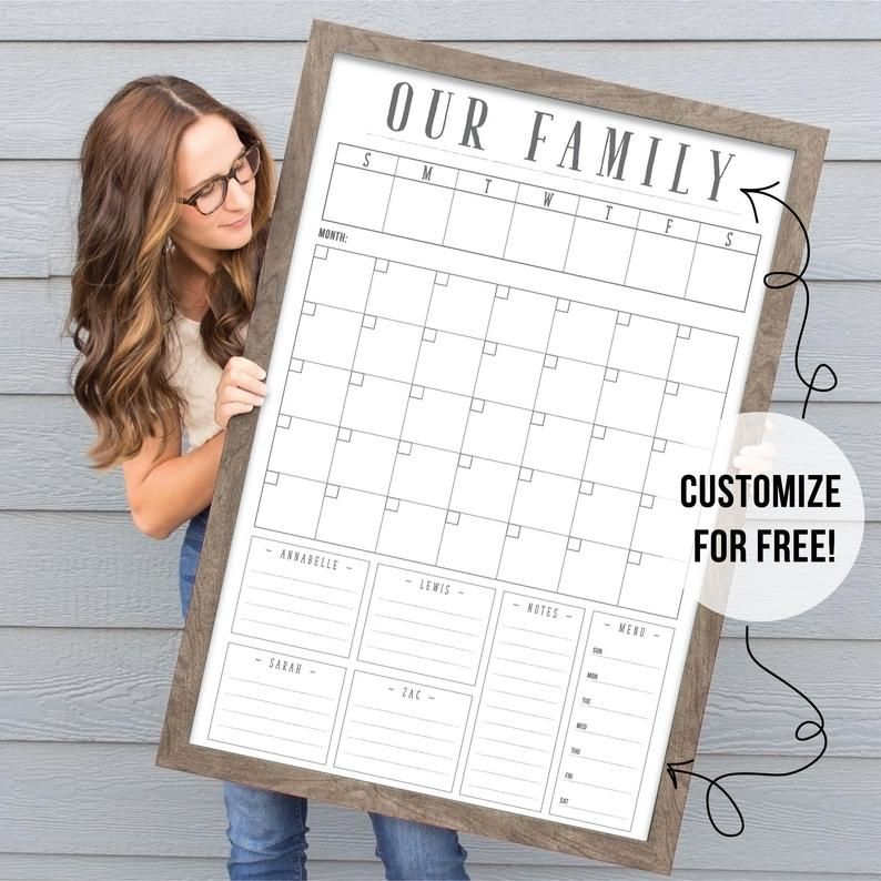 Command Center  24x36 dry erase calendar  customized | Etsy