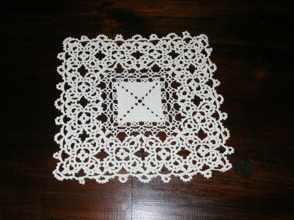 Vintage Hand-Worked Lace Square. Cloth for Vase etc. Victorian ...