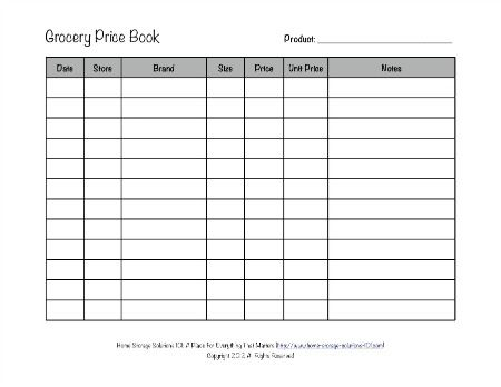 Grocery Price Book Use It To Compare Grocery Prices In Your Area - grocery list form