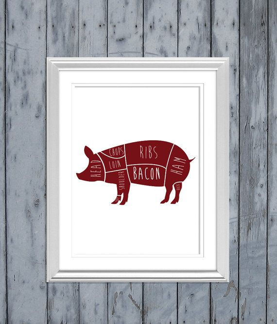 Pig Butcher Diagram By Boocityprints On Etsy 1500 For The Home