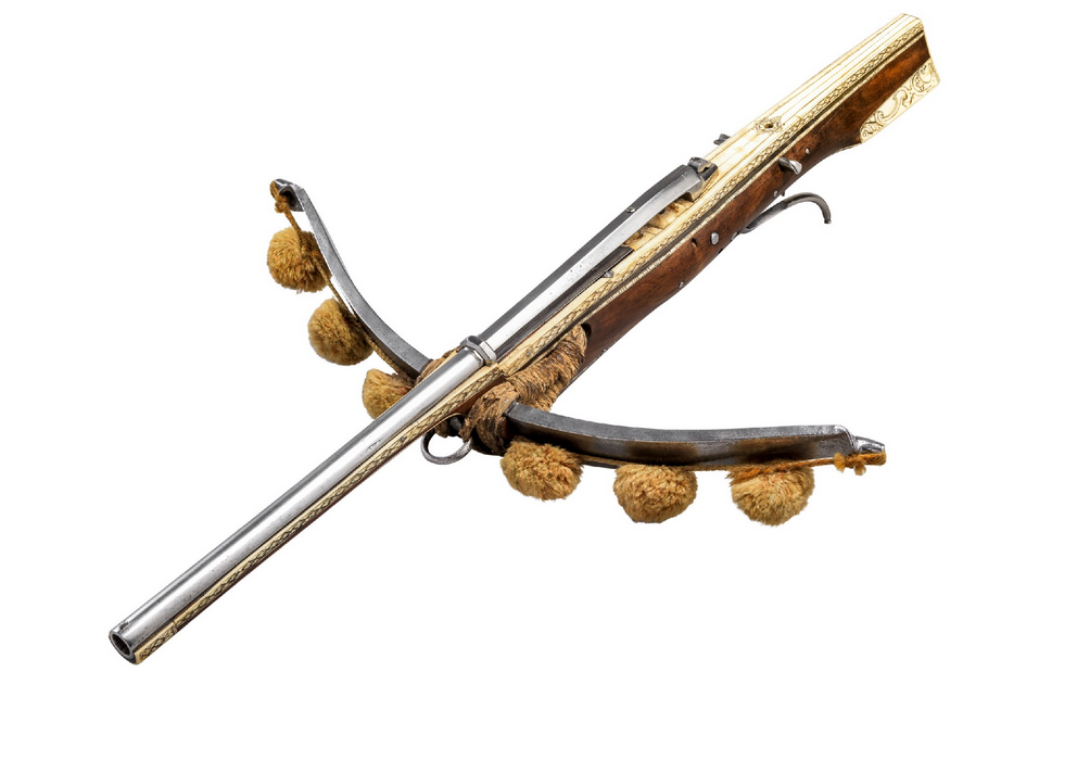 A rare bullet firing crossbow (slurbow) with repeating ...