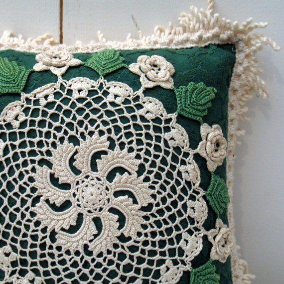 Vintage Pinwheel crochet pillow by readyfreddy on Etsy