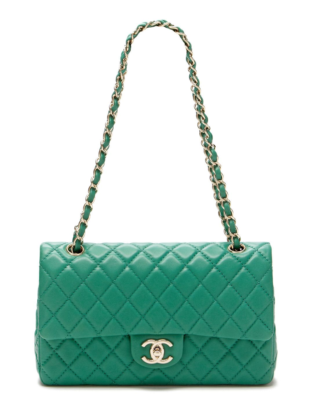 7b172b494acc0 Emerald Green Quilted Lambskin Leather Large Classic 2.55 Double Flap Bag  by Chanel at Gilt