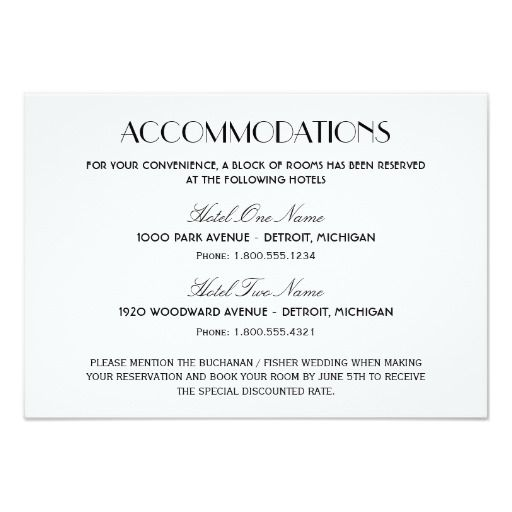 Vintage Black Art Deco Wedding Accommodations Enclosure Card Zazzle Com Accommodations Card Wedding Accommodations Vintage Wedding Invitation Wording