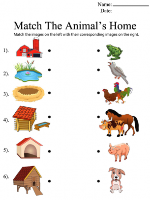 Match The Animal S Homes Animal Worksheets Animal Habitats Preschool Animal Lessons