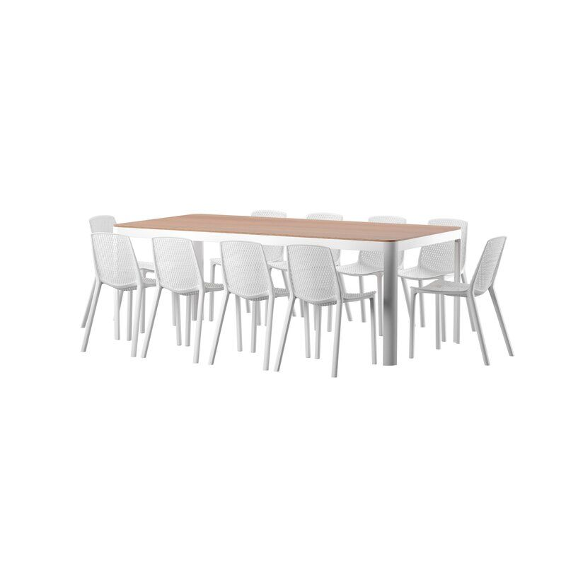 Claudio 11 Piece Dining Set Allmodern Seating Groups Dining Set Wooden Garden Benches