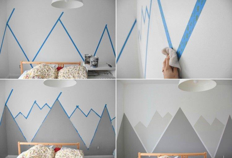 Ideen für Wandgestaltung mit Farbe – Wandgemälde von Bergen ...