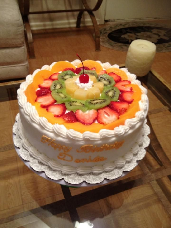 Cake With Fruit On Top Happy Birthday Girl Decorated