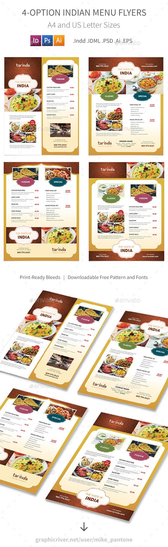 Indian Restaurant Menu Flyers – 4 Options | Food menu, Print ...